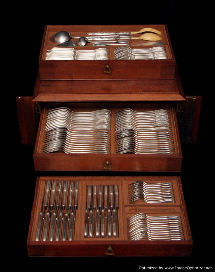 HENIN STERLING SILVER FLATWARE SET AND MAHOGANY STORAGE ...