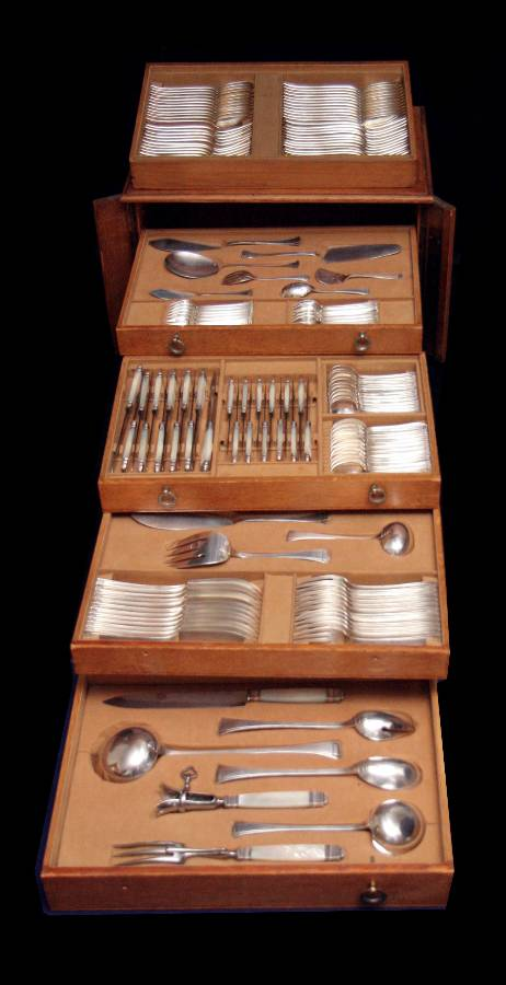 FRENCH ART DECO STERLING SILVER FLATWARE SET + 5 DRAWER ...