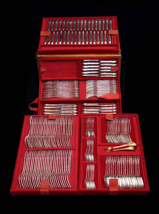 Odiot Antique Sterling Silver Flatware Set - 1890s